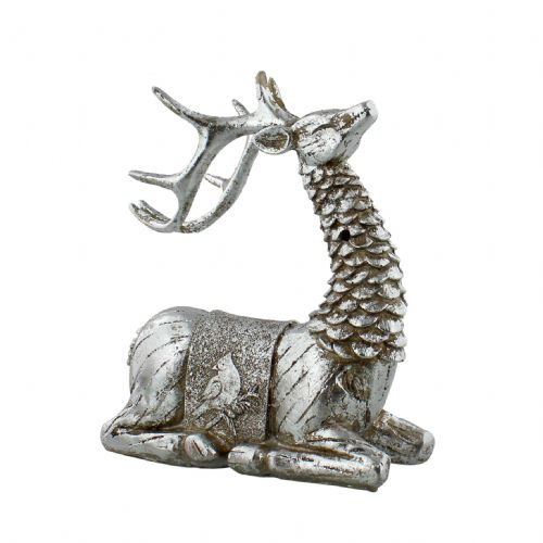 Reindeer Figurine Christmas Decoration Sitting Hand Painted Resin Silver Ornament for Xmas Decor